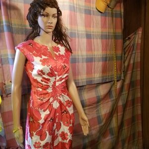 Dress barn dress pink flowers sleeveless